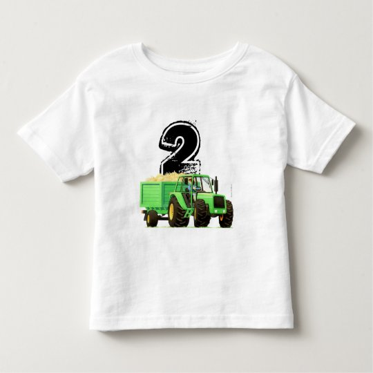 Boys Custom Green Tractor 2nd Birthday Toddler T-Shirt