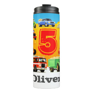Boy's Custom Name and Age Construction Truck Thermal Tumbler