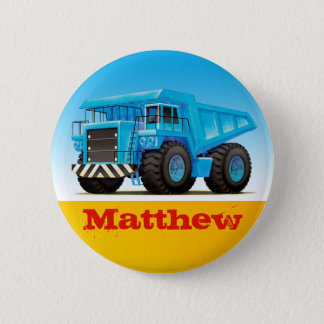 Boys Custom Name Construction Dump Truck 6 Cm Round Badge