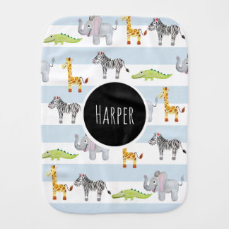 Boy's Cute Blue Striped Safari Animals with Name Burp Cloth