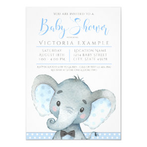 Boys Cute Elephant Baby Shower Invitations