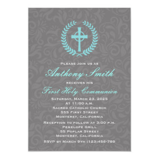 Boy's Damask First Comunion Invitation with Cross