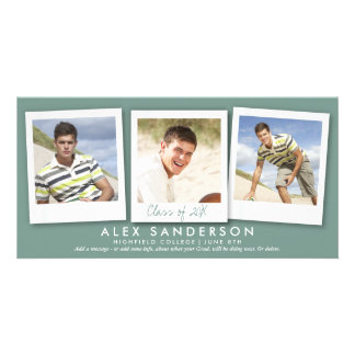 Boys Dark Gray Green Multi Photo Graduation Card