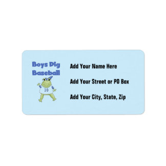 Boys Dig Baseball T-shirts and Gifts Address Label