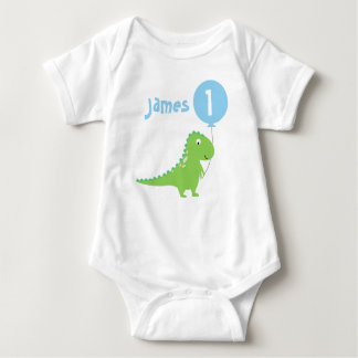 Boys Dinosaur Balloon 1st Birthday Bodysuit