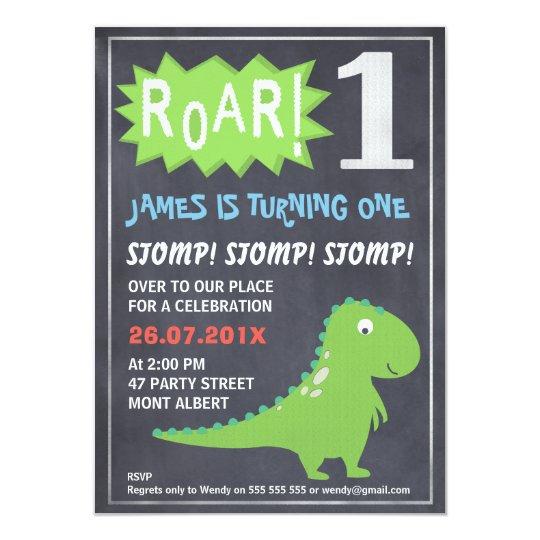 First Birthday Party Invitation Boy Chalkboard: Boys Dinosaur Chalkboard 1st Birthday Invitation