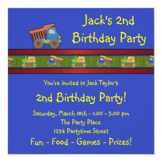 "Boys Dump Truck Birthday Party 5.25"" Square Invitation Card"