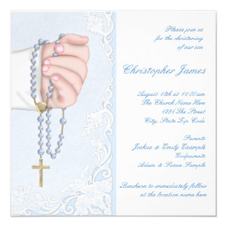Boys Elegant Baby Blue Rosary Christening Card