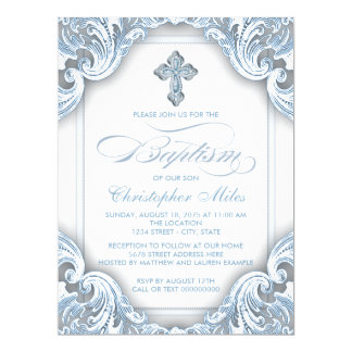 Boys Elegant Blue Cross Baptism Card