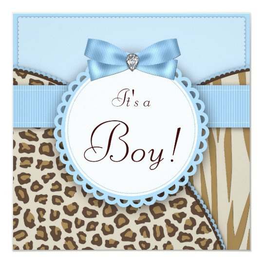 Boys Elegant Safari Baby Shower Card