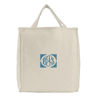 Boys Embroidered Monogram Canvas Tote Bag