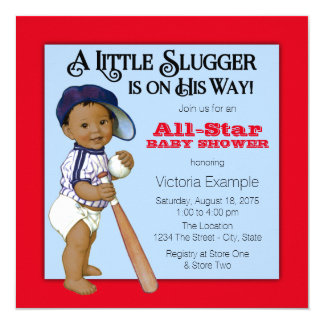 Boys Ethnic Baseball Baby Shower 13 Cm X 13 Cm Square Invitation Card