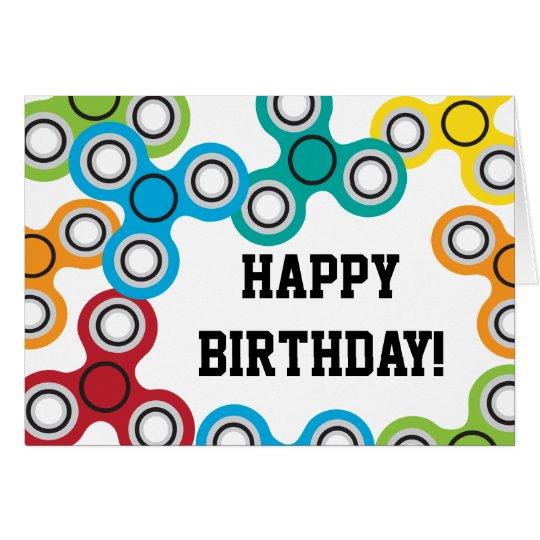 Boy's Fidget Spinner Birthday Party Card