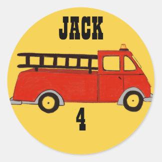 Boys Firetruck Firehouse Fire Station Red Truck Classic Round Sticker