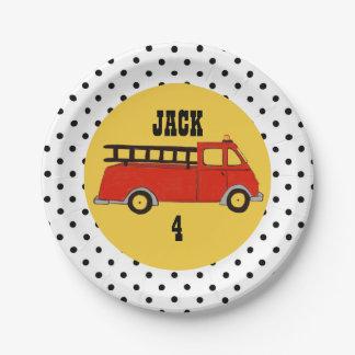 Boys Firetruck Firehouse Fire Station Red Truck Paper Plate