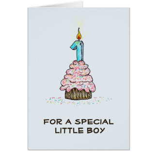 Boy's First Birthday Cupcake Card