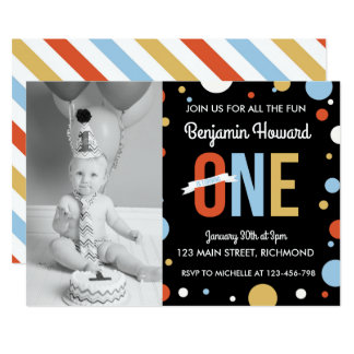 Boys First Birthday Invitation - Polka Dots