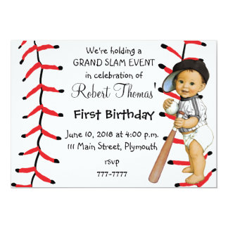 Boy's First Birthday Party Invitation Baseball