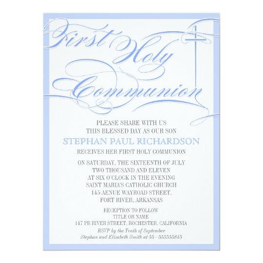 Boy's First Communion Invitation Blue