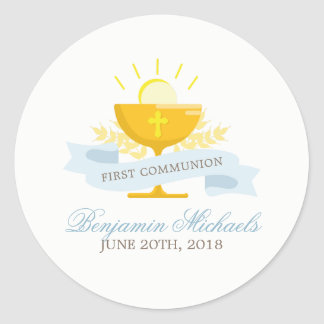 Boys First Holy Communion Classic Round Sticker