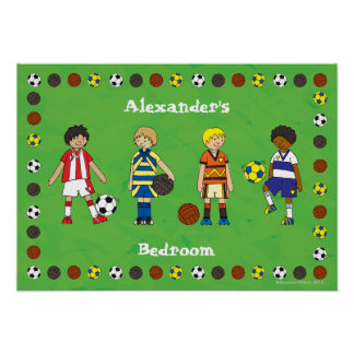 Boy's Football Soccer Personalised Poster