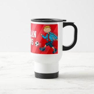 Boys football soccer training name mug red