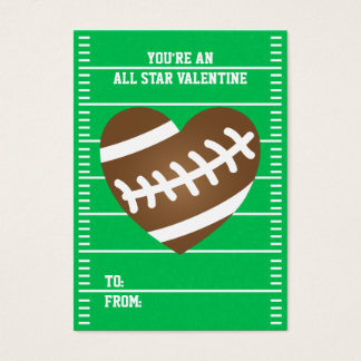 Boy's Football Sports School Classroom Valentines Business Card