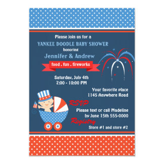 Boys Fourth of July Baby Shower Card