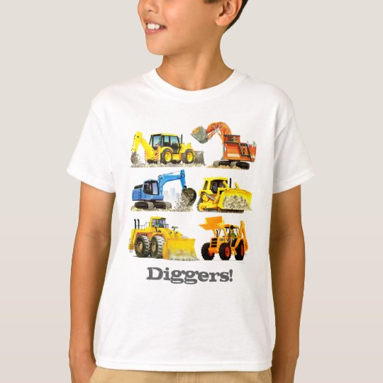 Boys Giant Construction Diggers and Excavators T-Shirt