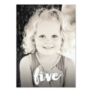 Boys Girls 5th Birthday Number Five Photo Overlay 13 Cm X 18 Cm Invitation Card