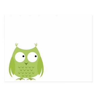 Boys Green Owl Customizable Blank Notecards Postcard