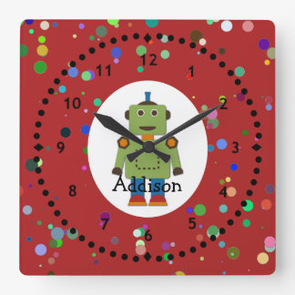 Boy's Green Robot Wall Clock