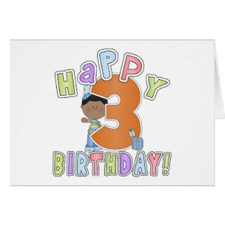 Boys Happy 3rd Birthday,African American Greeting Card