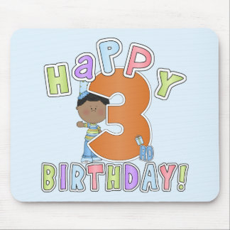 Boys Happy 3rd Birthday,African American Mousepad