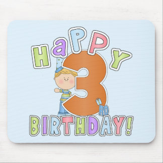 Boys Happy 3rd Birthday Mouse Pad