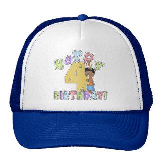 Boys Happy 4th Birthday,African American Cap