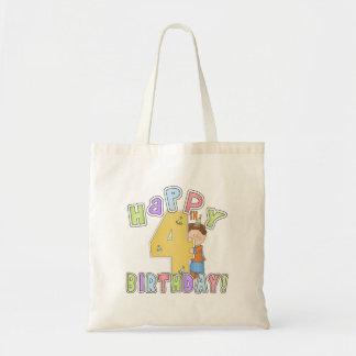 Boys Happy 4th Birthday Tote Bag