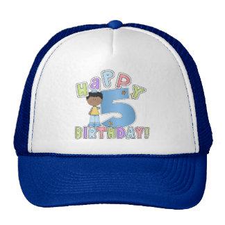 Boys Happy 5th Birthday,African American Trucker Hat