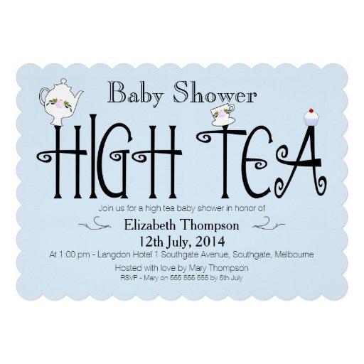 Boys High Tea baby Shower Invitation Personalized Invitations