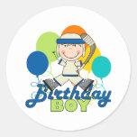 Boys Hockey Birthday Round Stickers