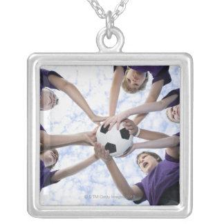 Boys holding soccer ball in huddle custom necklace