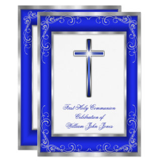 Boys Holy Communion Silver Royal Blue Cross Card