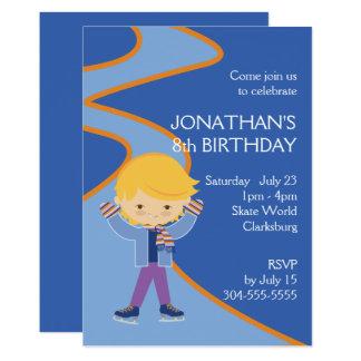 Boy's Ice Skating Party 13 Cm X 18 Cm Invitation Card