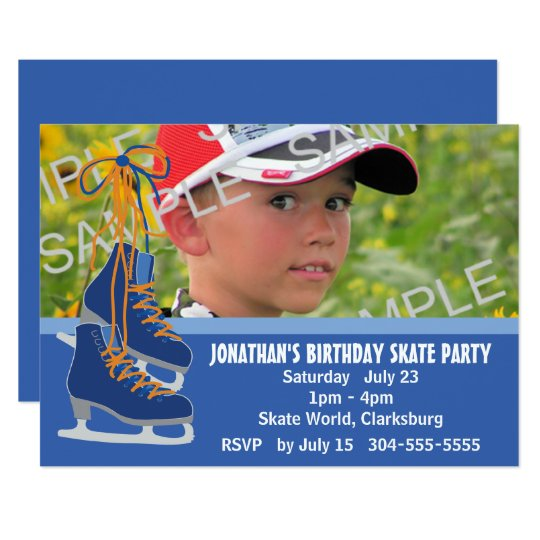 Boy's Ice Skating Party Card