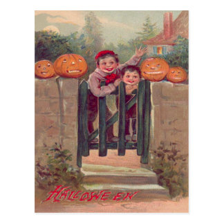 Boys Jack O Lantern Pumpkin Fence Postcard