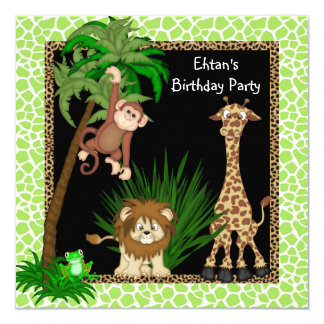 Boys Jungle Birthday Party Card