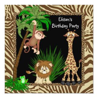 Boys Jungle Safari Birthday Party 13 Cm X 13 Cm Square Invitation Card