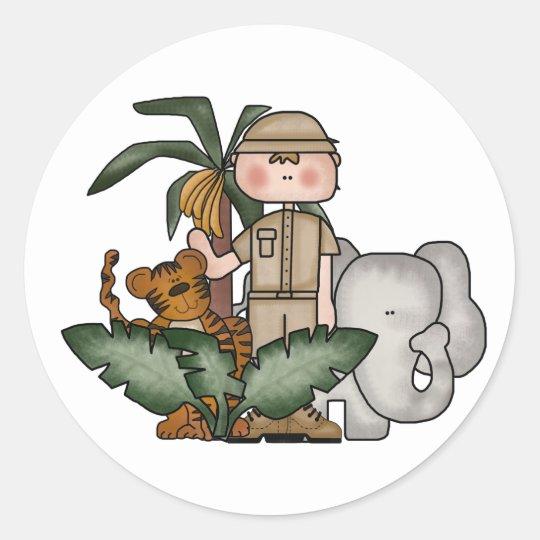 Boys Jungle Safari Classic Round Sticker