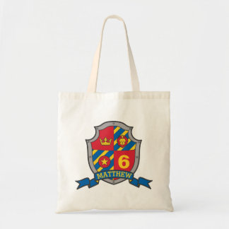 Boys kids knight shield name library bag