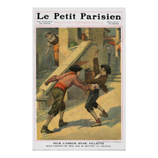 Boys' knife fight - 1910 French newspaper print